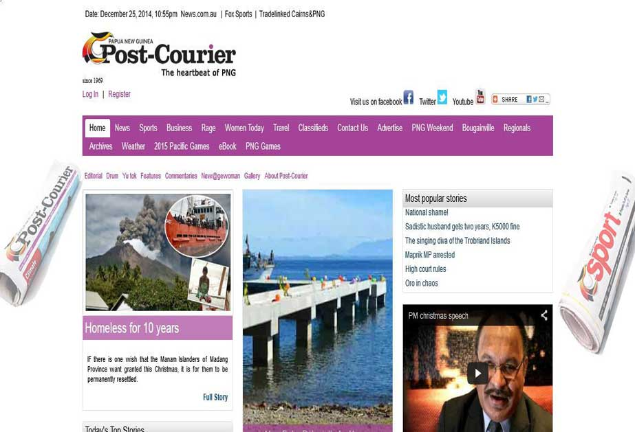 A website owned by Papua New Guinea based news agency.<br/>URL: http://postcourier.com.pg/