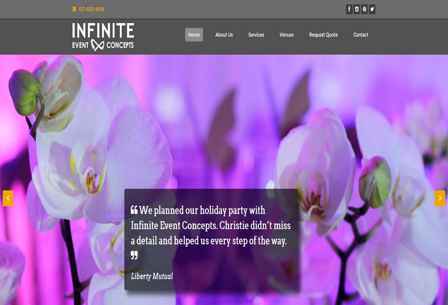 An event agency website where they are planning various kind of events for their clients and offers different services for same. <br />URL: http://infiniteeventconcepts.com/
