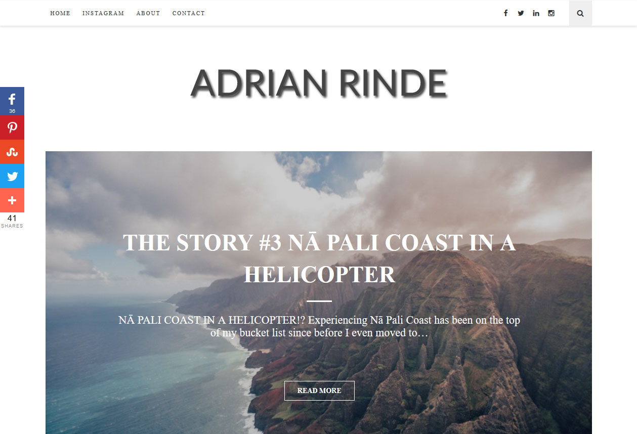 A personal blog created using a premium wordpress theme and slightly customized as per the client's requirements.<br/>URL: https://adrianrinde.blog/